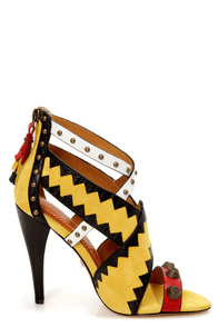 Blonde Ambition Renata Dijon Yellow Strappy Studded Sandals at Lulus.com!
