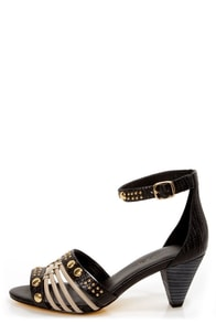 Blonde Ambition Sobra Black and Taupe Studded Sandals
