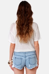 Element Eden Leah Lace Jean Shorts at Lulus.com!