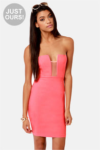 LULUS Exclusive Art of Dip-Low-macy Coral Strapless Dress