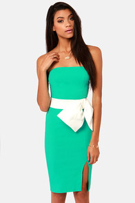 Lulus Exclusive Stunning Side Up Strapless Sea Green Dress