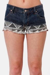 Roxy Suntoucher Ombre Print Cutoff Jean Shorts at Lulus.com!