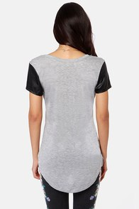 Chutes and Leathers Grey Top at Lulus.com!