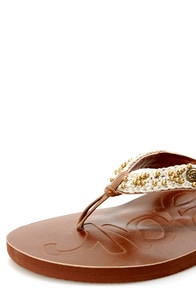 Sugar Vivacious Cream Beaded Macrame Thong Sandals at Lulus.com!
