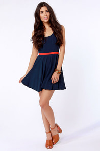 BB Dakota Royer Navy Blue Dress at Lulus.com!