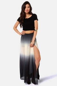 Home Al-Ombre Charcoal Grey Ombre Maxi Skirt at Lulus.com!
