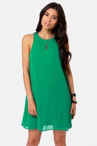 Chiff-On the Run Green Dress