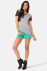 Lira Row Mint Green Print Jean Shorts at Lulus.com!