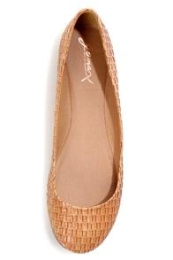 GoMax Sienna 22X Tan Basketweave Ballet Flats at Lulus.com!