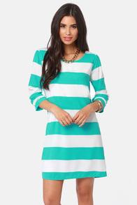 Making Maritime Aqua and White Striped Dress