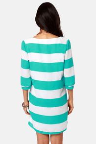 Making Maritime Aqua and White Striped Dress at Lulus.com!