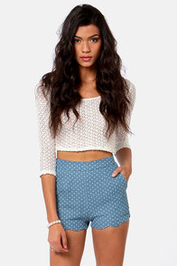 Getting Spot In Here Blue Polka Dot Shorts at Lulus.com!