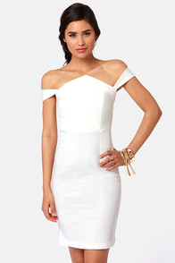 She's a Knockout Off-the-Shoulder Ivory Dress