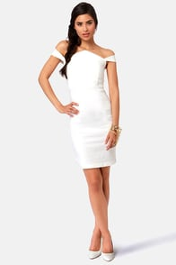 She's a Knockout Off-the-Shoulder Ivory Dress at Lulus.com!