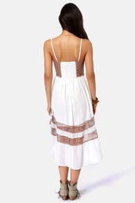 Lira Racey Lacey Taupe and White Lace Dress at Lulus.com!