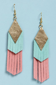 Claire Fong Fun with Fringe Blue and Pink Leather Earrings at Lulus.com!