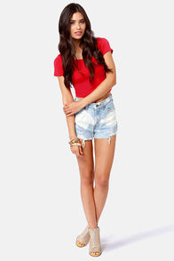 Jersey Devil Red Crop Tee at Lulus.com!