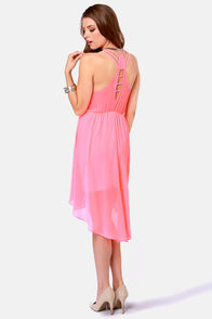 Couldn't Be Strappier Neon Pink High-Low Dress at Lulus.com!