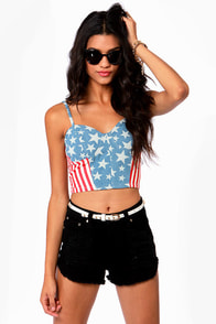 Capture the Flag American Flag Print Bustier Top