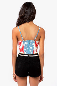 Capture the Flag American Flag Print Bustier Top at Lulus.com!