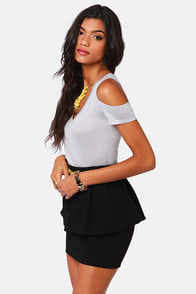 Tee Party Cutout Light Grey Top at Lulus.com!