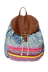 Billabong Mixin Daze Denim Print Backpack at Lulus.com!