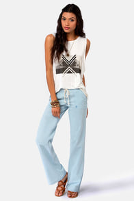 Volcom Ride Easy Light Blue Wide-Leg Pants