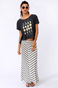 Lucy Love Cape Cod Cream and Grey Striped Maxi Skirt