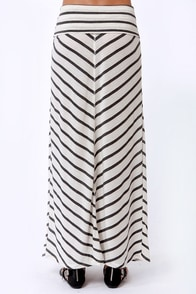 Lucy Love Cape Cod Cream and Grey Striped Maxi Skirt at Lulus.com!