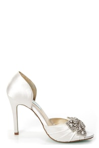 Betsey Johnson SB-Gown Ivory Satin Rhinestone Bow Peep Toe Heels at Lulus.com!