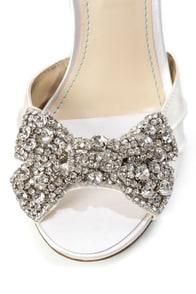 Betsey Johnson SB-Gown Ivory Satin Rhinestone Bow Peep Toe Heels at Lulus.com!