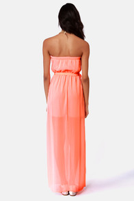 Mermaid in Heaven Strapless Neon Coral Maxi Dress at Lulus.com!