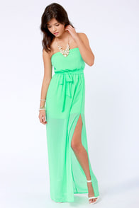 Mermaid in Heaven Strapless Spring Green Maxi Dress