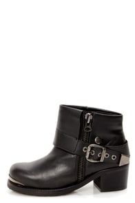 Sixtseven Dakota Floater Black Cuffed and Belted Ankle Boots