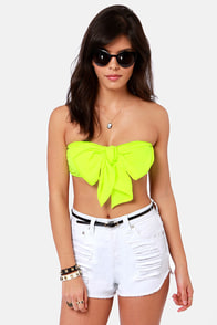 Havana Cabana Highlighter Yellow Bandeau Top