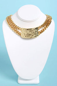 Collar ID Gold Choker Necklace