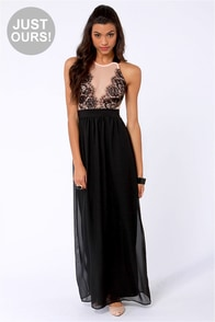 LULUS Exclusive Pleased as Plunge Peach and Black Maxi Dress