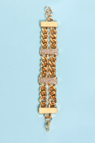 Rocks That I Got Gold Rhinestone Bracelet at Lulus.com!