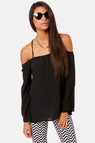 Shoulder of Fortune Off-the-Shoulder Black Top at Lulus.com!