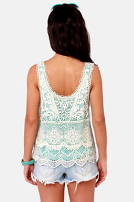 Best of the Fest Mint and Cream Crochet Top at Lulus.com!
