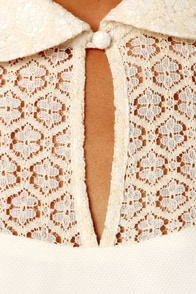Neck of the Woods Cream Lace Dress at Lulus.com!