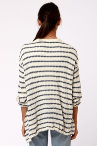 Lavand Swell Lapels Blue and Cream Striped Sweater at Lulus.com!