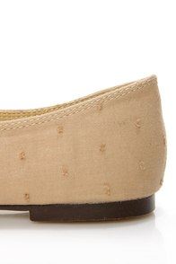 Restricted Scrabble Tan Swiss Dot Lace-Up Ballet Flats at Lulus.com!