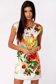 Lavand Tropical Illusion Floral Print Dress