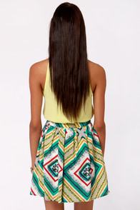 Lavand Scarf Ace Print Pleated Skirt at Lulus.com!