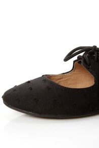 Restricted Scrabble Black Swiss Dot Lace-Up Ballet Flats at Lulus.com!