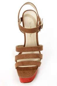 C Label Kelly 1 Tan and Rust Red Platform Sandals at Lulus.com!