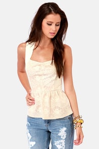 Out to Brunch Beige Lace Peplum Top at Lulus.com!