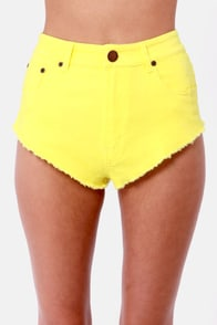 Huntingbird Cheeky Yellow Jean Shorts at Lulus.com!