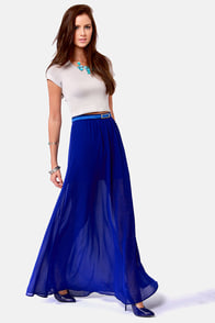 Floor de Lis Royal Blue Maxi Skirt at Lulus.com!